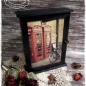 Londonos kulcsos szekrény ébenfekete színben, Otthon, lakberendezés, Mindenmás, Kulcstartó, Tárolóeszköz, Decoupage, szalvétatechnika, Festett tárgyak, MEGRENDELHETŐ! A képeken látható kulcsos szekrény már gazdára talált, azonban, ha Te is szeretnél i..., Meska