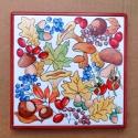 Ősz - Kerámia edény alátét, Konyhafelszerelés, Otthon, lakberendezés, Edényalátét, Festett tárgyak, Kerámia, Kézzel festett edényalátét az ősz gyönyörű, meleg színeivel. Az alátét 15x15 cm-es csempelapra kész..., Meska