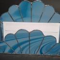 Tiffany kék kagyló irattartó, Dekoráció, Otthon, lakberendezés, Dísz, Üvegművészet, Az irattartó világoskék márványozott üvegből készült Tiffanyi technikával (a kivágott, megcsiszolt ..., Meska