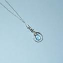 Sky blue topáz láncon, Ékszer, óra, Medál, Nyaklánc, Ékszerszett, Ékszerkészítés,  Börzén vásárolt valódi sky blue fazettált topáz cseppből készült ez az ezüst medál amelyet lánccal..., Meska