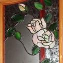 Fehér rózsa ajtóbetét II. volume, Otthon, lakberendezés, Dekoráció, Képzőművészet , Mindenmás, Üvegművészet, Rendelésre készült 4 db különböző színű rózsás ajtóbetétek egyike, irizált fehér, halvány bézs  szí..., Meska