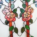 Rózsaberek ajtóbetét, narancssárga: III. volume, Otthon, lakberendezés, Dekoráció, Képzőművészet , Mindenmás, Üvegművészet, Rendelésre készült 4 db különböző színű rózsás ajtóbetétek egyike, narancssárga színű, romantikus t..., Meska