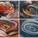 """Rózsa sorozat, Otthon, lakberendezés, Képzőművészet, Falikép, Festmény, Festészet, 5 SZÁL VIRÁG  Ez az 5 db képből álló """"Rózsa sorozat"""" a virág különböző módon történt megörökítése. ..., Meska"""