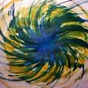 Forgásban - festmény, Dekoráció, Képzőművészet, Otthon, lakberendezés, Kép, Festészet, Fapáccal és tussal különleges - vízjeles 150 g-os - papírlapra készült kép. A kép erős fényben enyh..., Meska