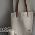 Csipkés vászon táska, Táska, Válltáska, oldaltáska, Varrás, Antik vászonból készítettem ezt a táskát, melyet romantikus csipkével tettem még szebbé. Füle bőr, ..., Meska
