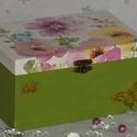 Virág Mintás Ékszeres Doboz - kézzel festett/díszített , Ékszer, óra, Otthon, lakberendezés, Ékszertartó, Tárolóeszköz, , Meska