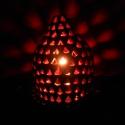 Mályva színű lámpa, Otthon, lakberendezés, Lámpa, Állólámpa, Hangulatlámpa, Kerámia, A mályva hangulatlámpát háromszögek díszítik, melyek alja kifelé, oldalai befelé ívelnek. A lámpa t..., Meska