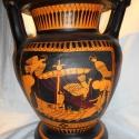 Vörös alakos kratér Odüsszeusz ábrázolással, Dekoráció, Képzőművészet , Otthon, lakberendezés, Kerámia, A kratérban vegyítették a vizet a borral az ókori Görögországban. Az itt látható oszlopkratér nevét..., Meska