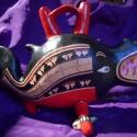 Kardszárnyú delfint ábrázoló edény, Dekoráció, Otthon, lakberendezés, Kerámia, A Nasca dél-amerikai pre-kolumbián kultúrába (Kr.u. 0 - 600) tartozó edény a mitikus kardszárnyú de..., Meska