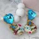Azulea, Ékszer, óra, Ruha, divat, cipő, Fülbevaló, Ékszerkészítés, Ragyogó arany, azúrkék, rózsaszín, rózsák. Lógós dekoratív fülbevalót készítettem bármilyen alaklom..., Meska