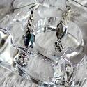 """Pillanat (fülbevaló), Ékszer, óra, Ruha, divat, cipő, Fülbevaló, Ékszerkészítés, Ezüst színű  fülbevaló, varázslatos  zwarovski kristályokkal, különleges, kúp alakú filigrán """"csipk..., Meska"""