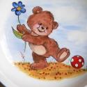Macis étkészlet, Baba-mama-gyerek, Konyhafelszerelés, Bögre, csésze, Kerámia, 3 részből álló  porcelán gyermek étkészletet mackós mintákkal. saját kézzel festettem és kerámiaéget..., Meska