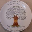 Családfa, Konyhafelszerelés, Dekoráció, Kerámia, Kézzel festett porcelán tányér, átmérője 27 cm.  Kemencében égettem rá a mintát,így stabil,használha..., Meska