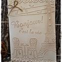Vintage Párizs, Karácsonyi, adventi apróságok, Naptár, képeslap, album, Ajándékkísérő, képeslap, Képeslap, levélpapír, Papírművészet, Párizs kedvelőknek, vagy bárkinek, akinek csak megtetszik! :-)  Mérete: 14,5 cm * 10,5 cm, Meska