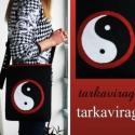 Yin-Yang jelképpel diszitett fekete oldaltáska, Ruha, divat, cipő, Táska, Tarisznya, Válltáska, oldaltáska, Varrás, A yin és jang ,a negativ és a pozitiv,a viz és a tüz,a nö és a férfi,az őselemek egymásra hatásának..., Meska