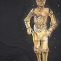 C-3PO- Star Wars- festett fels?, Képz?m?vészet, Ruha, divat, cip?, N?i ruha, Fels?rész, póló, , Meska