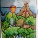 Kincses-sziget selyemkép, Baba-mama-gyerek, Dekoráció, Gyerekszoba, Kép, Selyemfestés, Színes, mesés selyemkép. Kedves, kalandos hangulat gyerekszobába kis kalózoknak. Ablakban a fényekk..., Meska