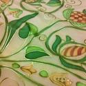 Úri hímzés mintával festett selyem sál, Magyar motívumokkal, Ruha, divat, cipő, Női ruha, Kendő, sál, sapka, kesztyű, Selyemfestés, 40x150cm méretű kézzel festett selyem sál. Az úri hímzés motívumaiból rajzoltam a mintasort, vaníli..., Meska