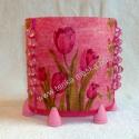 Rózsaszín tulipán - mécsestartó, Dekoráció, Otthon, lakberendezés, Gyertya, mécses, gyertyatartó, Decoupage, szalvétatechnika, 6 ágú, réz betéttel ellátott, halvány rózsaszínre festett fa mécsestartó - melyet magam állítottam,..., Meska