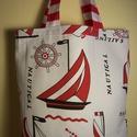 Piros vitorlás mintás táska , Baba-mama-gyerek, Táska, Baba-mama kellék, Szatyor, Varrás, Piros vitorlás mintás erős vastag vászonanyagból készítettem ezt a táskát.   Oldalán és alján dupla..., Meska