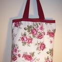 Rózsamintás táska bordó szegéllyel, Táska, Baba-mama-gyerek, Szatyor, Baba-mama kellék, Varrás, Színes rózsamintás vastagabb vászonanyagból készítettem ezt a táskát.  Oldalán és alján dupla varrá..., Meska