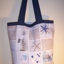 Kék tengerészmintás táska, Táska, Baba-mama-gyerek, Szatyor, Válltáska, oldaltáska, Varrás, Kék tengerészmintás vastagabb vászonanyagból készítettem ezt a táskát.  Oldalán és alján dupla varr..., Meska