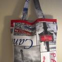 Város mintás táska normál füllel, Táska, Baba-mama-gyerek, Szatyor, Válltáska, oldaltáska, Varrás, Városok képei díszítik ezt a vastagabb vászonanyagból készült táskát.  Oldalán és alján dupla varrá..., Meska