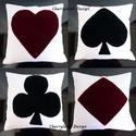 AKCIÓ!!! Póker kártya párnahuzat  4db, Dekoráció, Otthon, lakberendezés, Lakástextil, Ágynemű, Varrás, Póker mintás cipzáros  díszpárnahuzat. Hátoldala Taft selyemből készült.   Mérete:45 cm*45 cm  Az á..., Meska