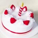 Filc torta - eper, Játék, Dekoráció, Készségfejlesztő játék, Dísz, Varrás, Tejszínes epertorta.  Ez a gyapjúfilcből készült, habos finomság babakonyhába és születésnapi ajánd..., Meska