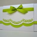 pénzátadó lap - zöld-fehér csipkemintával , Esküvő, Képeslap, album, füzet, Meghívó, ültetőkártya, köszönőajándék, Képeslap, levélpapír, Papírművészet, Igazi romantikus stílusú pénzátadó lap, melynek áttört mintája adja a lap különlegességét. Gyöngyhá..., Meska