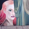 Éhezők viadala c. festmény, Dekoráció, Otthon, lakberendezés, Képzőművészet, Festmény, Festészet, A képen egy zöld szemű nő látható, melynek az arcát félig eltakartam drapériával.A haja pedig lángo..., Meska