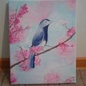 A boldogság kék madara c festmény, egyedi, kézzel festett, Baba-mama-gyerek, Dekoráció, Képzőművészet, Gyerekszoba, Festészet, A képen látható apró kék madárkát egy virágzó cseresznyefaágra ültettem, ezzel hoztam összhangba a ..., Meska