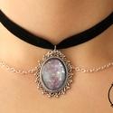 Léda Choker Nyaklánc ezüst-fekete színben, lila medállal, Ékszer, óra, Nyaklánc, , Meska