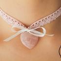 Heléna Rózsaszín-fehér, csipkés Choker Nyaklánc szívecskés rózsakvarc medállal és masnival , Ékszer, óra, Esküvő, Nyaklánc, Esküvői ékszer, , Meska