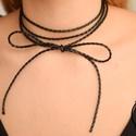 Victoria fekete fonott bőrszálból készült choker nyaklánc, Ékszer, óra, Nyaklánc, , Meska