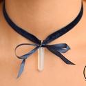Theia kék choker nyaklánc hegyikristály medállal, Ékszer, óra, Esküvő, Esküvői ékszer, Nyaklánc, , Meska