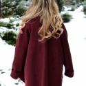 Tiame sötét bordó kabátka, Ruha, divat, cipő, Női ruha, Kabát, Varrás, Nemezelés, Elegáns és romantikus, meleg lágy gyapjú szövetből készült kabátka, elöl lágyan redőző széles kihajt..., Meska
