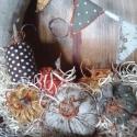 Ősz gyümölcsei-textilkoszorú, Otthon, lakberendezés, Dekoráció, Mindenmás, Virágkötés, Pompázatos színeit szórja elénk az ősz, ebből válogattam. Harmonizáló textilekből kézzel öltögetett ..., Meska