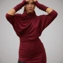 Pihe-puha Ősz, Ruha, divat, cipő, Női ruha, Ruha, Varrás, Bordó, nagyon kellemes tapintású, finom, puha dzsörzé anyagból készítettem ezt az aszimmetrikus ruhá..., Meska