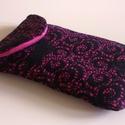 Pink-Fekete mobiltok / telefontartó, Ruha, divat, cipő, Táska, Pénztárca, tok, tárca, Mobiltok, Varrás, Mindenmás, Szépséges pink-fekete, egyedi mintázatú mobiltok!   Pink futter anyaggal bélelt tépőzáras Mobiltok ..., Meska