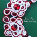 Fehér piros sujtás fülbevaló, Ékszer, óra, Esküvő, Fülbevaló, Esküvői ékszer, Ékszerkészítés, Varrás,  Ünnepi, vagy bármilyen alkalomra ajánlom!  A készítésnél felhasználtam:  - sujtás zsinór (fehér, p..., Meska