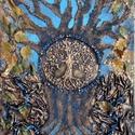 Áletfa-egy régi pulóver új élete, paverpol, Képzőművészet, Dekoráció, Kép, Textil, Szobrászat, Fotó, grafika, rajz, illusztráció, Kasírozott vászon alapon alkotott  kompozíció, amely középpontjában egy szilikonnal felrajzolt élet..., Meska