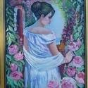 A rózsakertben, Képzőművészet, Festmény, Olajfestmény, Festmény vegyes technika, Festészet, Olajfestmény, V. Volegov műve alapján készült. Mérete: 50*60 cm, kasírozott vászonra festve. A képe..., Meska