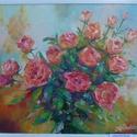 Lángszínű rózsák, Képzőművészet, Festmény, Festmény vegyes technika, Olajfestmény, Festészet, Olajfestmény , farostra festve festőkéssel, mérete 40*50 cm.A képen látható fehér kerettel adhatom., Meska