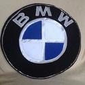 BMW párna, Férfiaknak, Otthon, lakberendezés, Lakástextil, Párna, Varrás, Patchwork, foltvarrás, BMW ,Volkswagen logós párna ,kocsi rajongóknak .  mérete:átmérője 35cm,vastagsága 7cm  Puha tapintá..., Meska