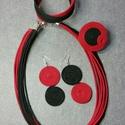 Piros fekete, Ékszer, óra, Ékszerszett, , Meska