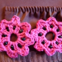 Rózsaszín horgolt fülbevaló (fémérzékenyeknek is), Ékszer, óra, Fülbevaló, , Meska