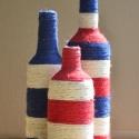 """""""Lighthouse"""" váza trió, Dekoráció, Otthon, lakberendezés, Kaspó, virágtartó, váza, korsó, cserép, Újrahasznosított alapanyagból készült termékek, Mindenmás, 3 darab kenderszállal bevont üveg váza újrahasznosított üvegből: 1 db kék-fehér csíkos, 1 db piros-..., Meska"""
