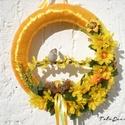 Húsvéti, tavaszi színes madaras ajtódísz, kopogtató , Dekoráció, Húsvéti apróságok, Otthon, lakberendezés, Ünnepi dekoráció, Mindenmás, Virágkötés, Várom a tavaszt, imádom a napfényt! Hogy mielőbb  előcsalogassam és a húsvétra is gondolva készítet..., Meska