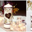 Esküvői gyertya, Esküvő, Otthon, lakberendezés, Esküvői dekoráció, Gyertya, mécses, gyertyatartó, Gyertya-, mécseskészítés, Fehér gyertya sötétpiros szív alakú ?puzzle? motívummal, csillogó ezüst és kristály dekorációval, v..., Meska